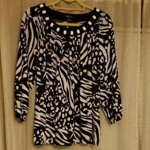 Style & Co Black & White Blouse